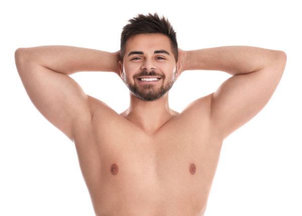 man with waxed underarms and chest
