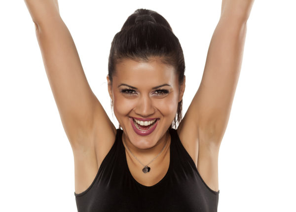 woman with freshly waxed underarms